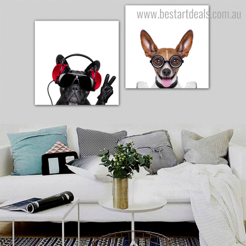 Basenji Bull Animal Funny Framed Painting Photo Canvas Print for Room Wall Outfit