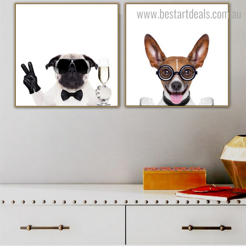 Basenji Pug Animal Funny Framed Painting Portrait Canvas Print for Room Wall Ornament