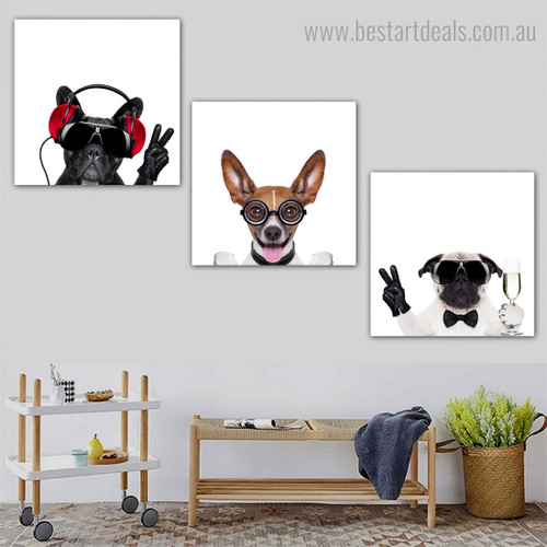 Bull Basenji Pug Animal Funny Framed Painting Portrait Canvas Print for Room Wall Getup