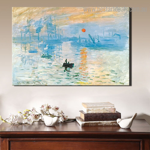 Sunrise I Monet Landscape Reproduction Framed Portraiture Portrait Canvas Print for Room Wall Decor