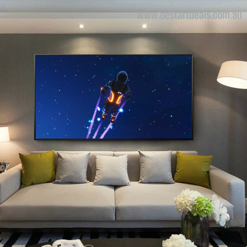 Space Traveller Landscape Figure Framed Portraiture Portrait Canvas Print for Room Wall Decoration