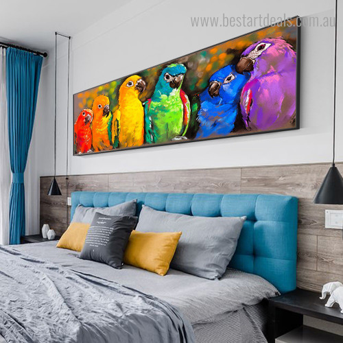 Colorific Parrots Bird Watercolor Framed Painting Picture Canvas Print for Room Wall Disposition