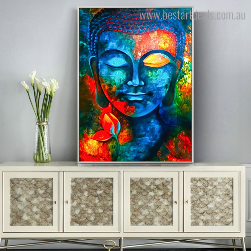 Dapple Buddha Abstract Modern Framed Portraiture Portrait Canvas Print for Room Wall Drape