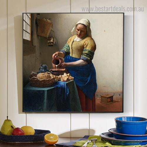The Milkmaid II Johannes Vermeer Figure Framed Artwork Image Canvas Print for Room Wall Flourish