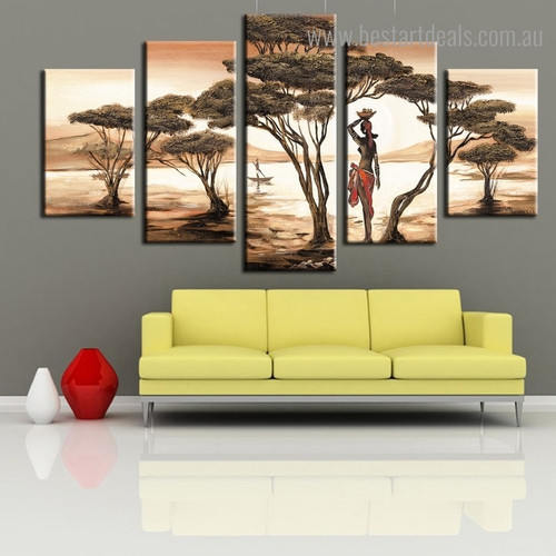 Villager Lady Abstract Landscape Framed Artwork Picture Canvas Print for Room Wall Garniture