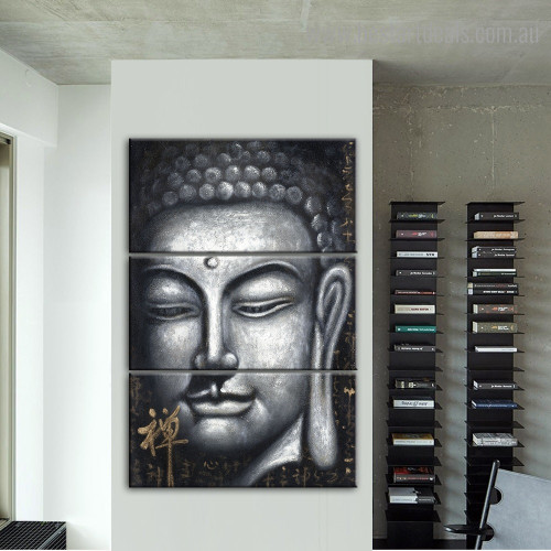 Gautama Face Abstract Religious Framed Painting Picture Canvas Print for Room Wall Getup