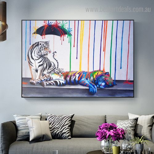 Colorful Tigers Abstract Animal Graffiti Framed Artwork Photo Canvas Print for Room Wall Outfit