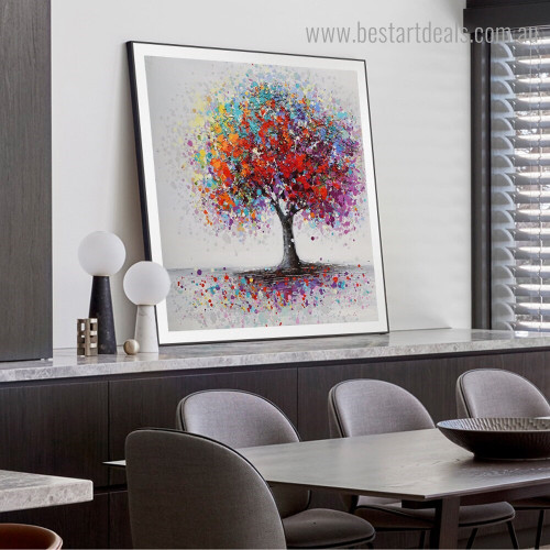 Chromatic Arbor Abstract Botanical Graffiti Framed Painting Pic Canvas Print for Room Wall Assortment