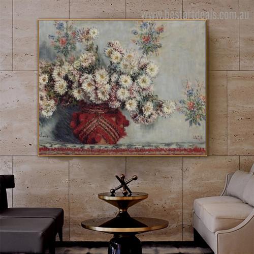 Chrysanthemums 1878 Monet Impressionist Botanical Framed Artwork Photo Canvas Print for Room Wall Ornament