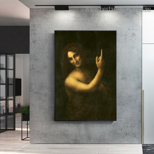 John the Baptist Renaissance Figure Framed Painting Picture Canvas Print for Room Wall Embellishment