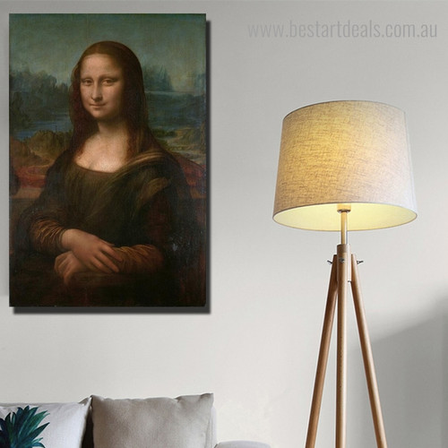 Mona Lisa Renaissance Figure Framed Painting Portrait Canvas Print for Room Wall Embellishment