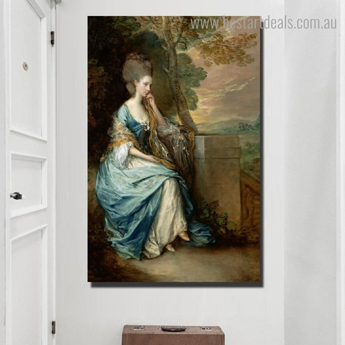 European Court Lady Theodore Gericault Figure Framed Painting Photo Canvas Print for Room Wall Garniture