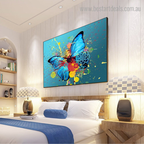 Floral Butterfly Animal Graffiti Watercolor Framed Artwork Image Canvas Print for Room Wall Outfit