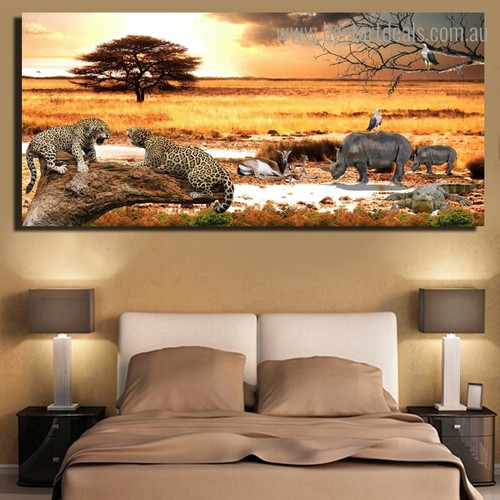 Forest Animal Landscape Nature Modern Framed Artwork Portrait Canvas Print for Room Wall Assortment
