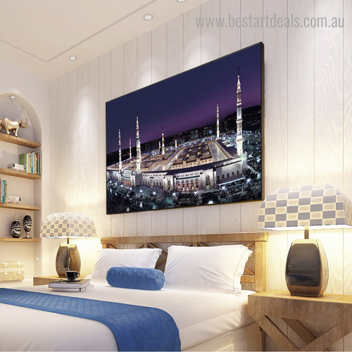 Mecca Holy Religious Modern Framed Painting Picture Canvas Print for Room Wall Adornment