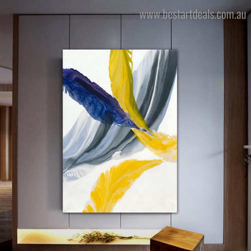 Yellow Blue Feathers Abstract Modern Framed Painting Photo Canvas Print for Room Wall Decor