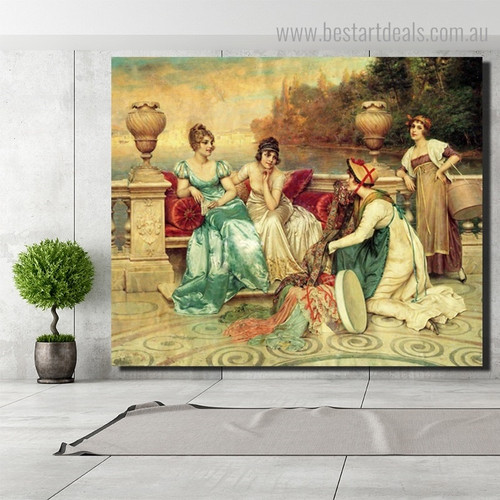 Silk and Satin Joseph Frederic Charles Reproduction Framed Painting Picture Canvas Print for Room Wall Getup