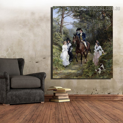 The Meeting Heywood Hardy Reproduction Framed Painting Picture Canvas Print for Room Wall Decoration