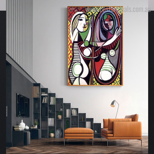 Girl Before Mirror Pablo Picasso Reproduction Framed Artwork Portrait Canvas Print for Room Wall Ornament