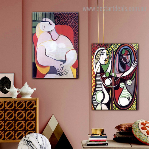 Girl Armchair Pablo Picasso Reproduction Framed Artwork Picture Canvas Print for Room Wall Decor