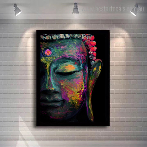 Buddha Idol Religious Framed Painting Picture Canvas Print for Room Wall Ornament
