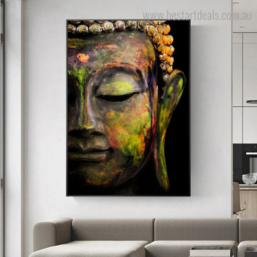 Gautama Idol Religious Framed Painting Portrait Canvas Print for Room Wall Onlay
