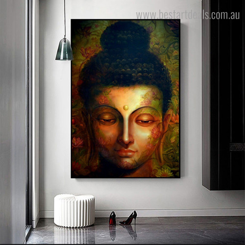 Face of Gautama Religious Framed Painting Portrait Canvas Print for Room Wall Flourish