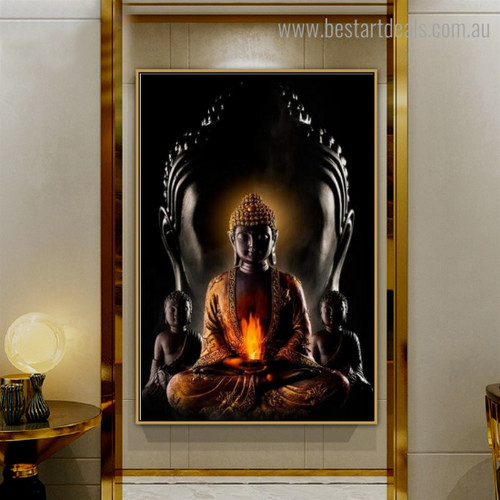 Gautama Buddha sculpture Religious Framed Painting Portrait Canvas Print for Room Wall Finery