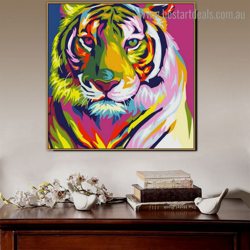 Colorific Tiger Animal Watercolor Framed Painting Pic Canvas Print for Room Wall Onlay