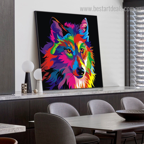 Dapple Wolf Animal Watercolor Framed Painting Pic Canvas Print for Room Wall Onlay