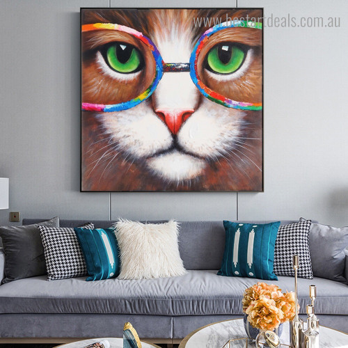 Lovely Cat Animal Watercolor Framed Painting Picture Canvas Print for Room Wall Finery