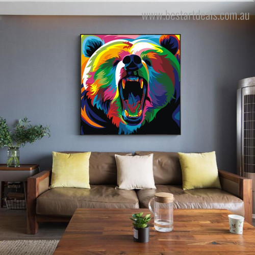 Calico Bear Animal Watercolor Framed Artwork Portrait Canvas Print for Room Wall Disposition