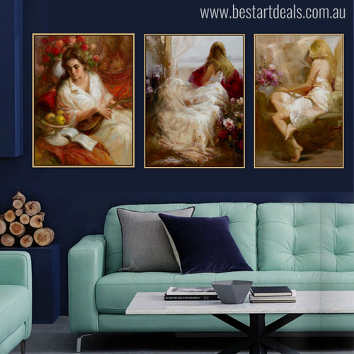Perched Girls Watercolor Painting Print for Living Room