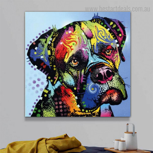 Boxer Dog Visage Animal Watercolor Framed Artwork Picture Canvas Print for Room Wall Getup
