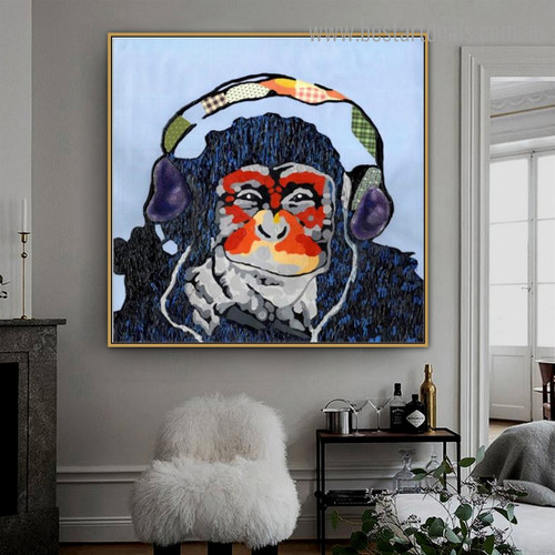 Chromatic Chimpanzee Animal Watercolor Framed Artwork Pic Canvas Print for Room Wall Garniture