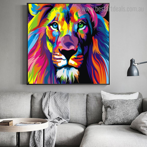 Particoloured Lion Animal Watercolor Framed Artwork Picture Canvas Print for Room Wall Garniture