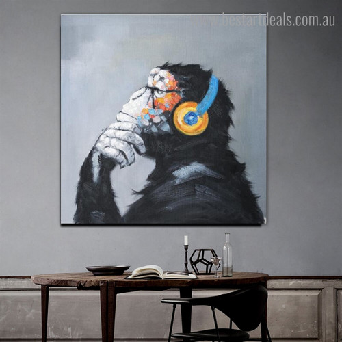 Chimpanzee Ape Animal Watercolor Framed Painting Portrait Canvas Print for Room Wall Decoration