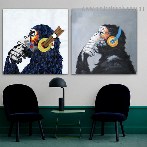 Motley Chimpanzees Animal Watercolor Framed Painting Portrait Canvas Print for Room Wall Garnish