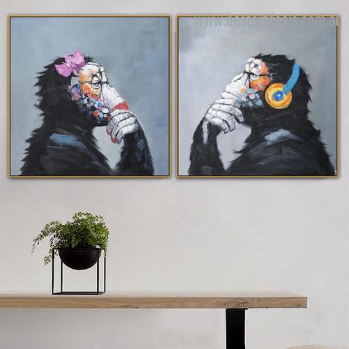 Dapple Chimpanzees Animal Watercolor Framed Painting Photo Canvas Print for Room Wall Garnish