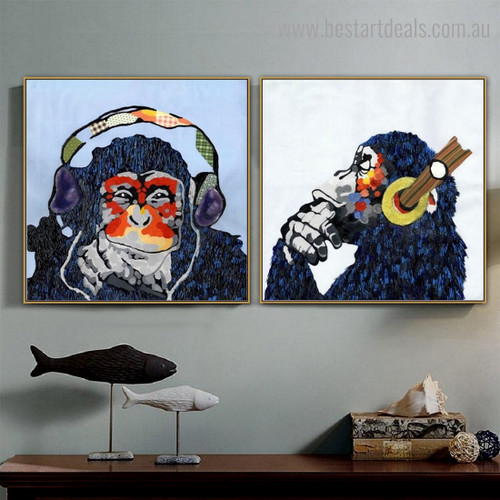 Particoloured Chimpanzees Animal Watercolor Framed Artwork Photo Canvas Print for Room Wall Disposition