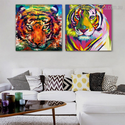 Colorific Tigers Animal Watercolor Framed Painting Picture Canvas Print for Room Wall Onlay