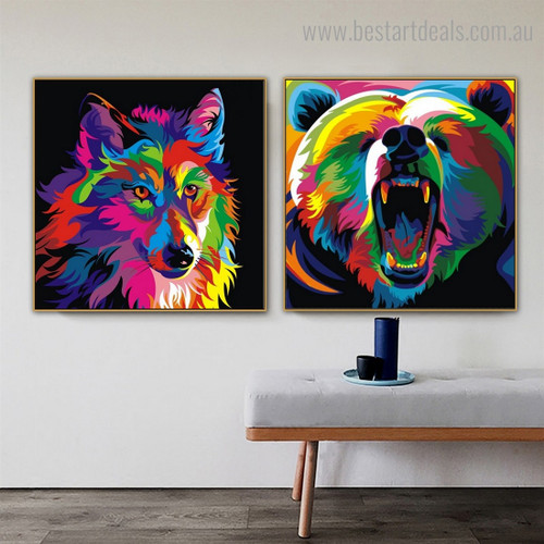 Wolf Bear Animal Watercolor Framed Painting Pic Canvas Print for Room Wall Decor