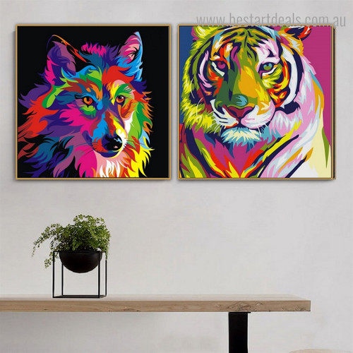 Tiger Wolf Animal Watercolor Framed Painting Image Canvas Print for Room Wall Decoration