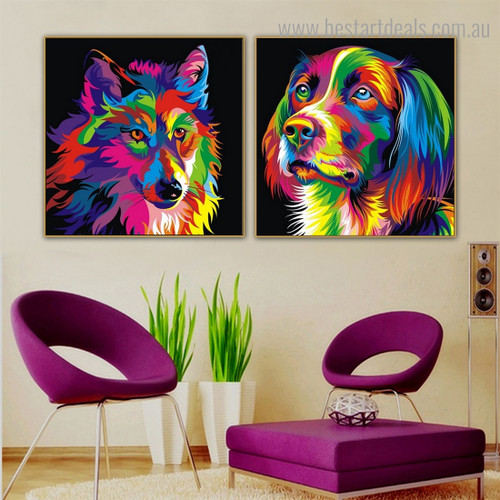 Wolf Dog Animal Watercolor Framed Painting Picture Canvas Print for Room Wall Assortment