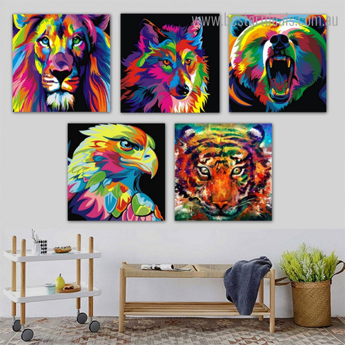 Lion Wolf Bear Animal Watercolor Framed Painting Picture Canvas Print for Room Wall Ornament