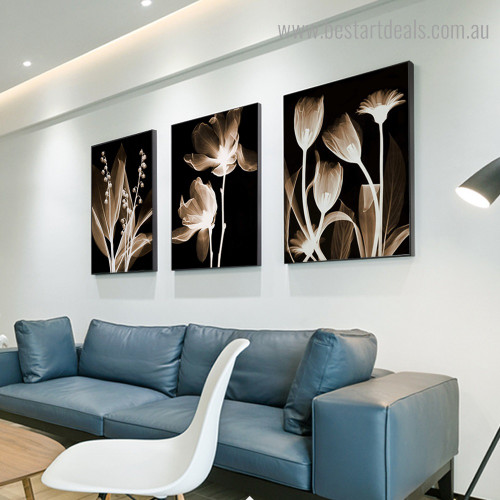 Flower Plants Abstract Floral Framed Painting Picture Canvas Print for Room Wall Decoration