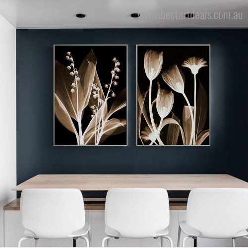 X-ray Sapling Abstract Floral Framed Painting Picture Canvas Print for Room Wall Finery