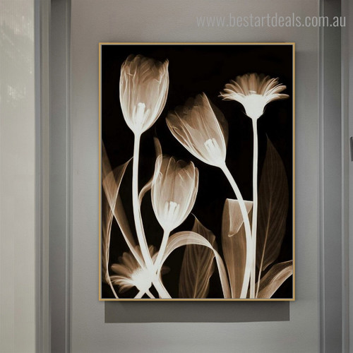 Transparent Plant Abstract Floral Framed Painting Photo Canvas Print for Room Wall Finery