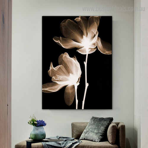 X-ray Blooms Abstract Floral Framed Painting Picture Canvas Print for Room Wall Outfit