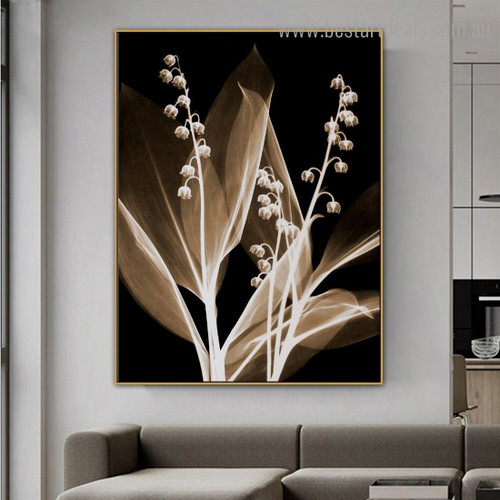 Transparent Floweret Plant Abstract Floral Framed Painting Image Canvas Print for Room Wall Finery